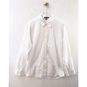 theory / white button down cotton dress shirt